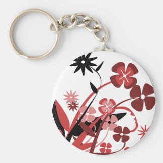 Abstract Floral red pink black Keychains