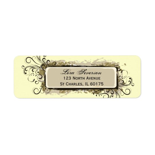 Abstract Floral Return Address Label