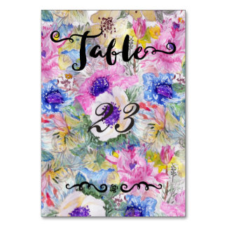 Abstract floral sketch watercolor wedding design table card