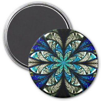 Abstract Floral Stained Glass 2 7.5 Cm Round Magnet