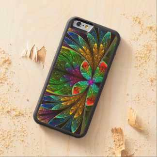 Abstract Floral Stained Glass Pattern Carved Maple iPhone 6 Bumper Case