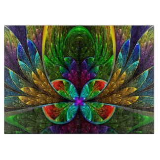 Abstract Floral Stained Glass Pattern Cutting Board