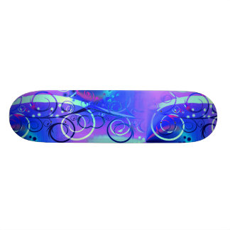 Abstract Floral Swirl Blue Purple Girly Gifts Custom Skate Board