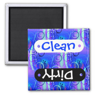 Abstract Floral Swirl Blue Purple Girly Gifts Square Magnet
