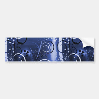 Abstract Floral Swirl Indigo Blue Girly Gifts Bumper Stickers