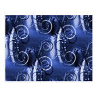 Abstract Floral Swirl Indigo Blue Girly Gifts Postcard