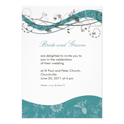 Abstract floral & swirl invitation - teal & brown