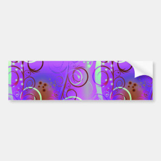 Abstract Floral Swirl Purple Mauve Aqua Girly Gift Bumper Stickers