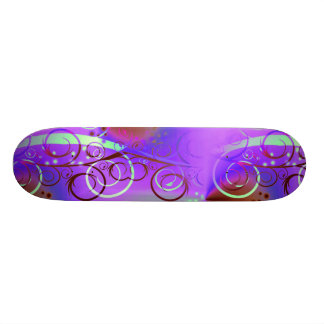Abstract Floral Swirl Purple Mauve Aqua Girly Gift Skateboards
