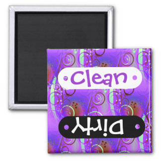 Abstract Floral Swirl Purple Mauve Aqua Girly Gift Square Magnet