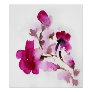 Abstract floral watercolor paintings 2 poster