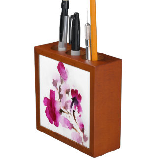 Abstract floral watercolor paintings 4 desk organiser