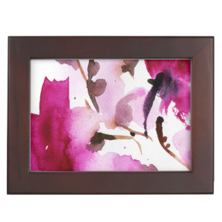 Abstract floral watercolor paintings 4 keepsake boxes