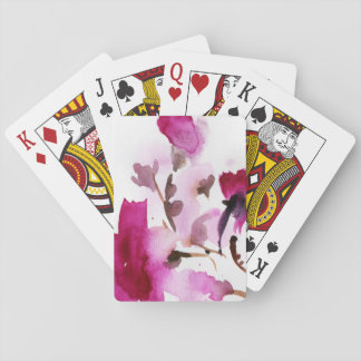 Abstract floral watercolor paintings 4 playing cards
