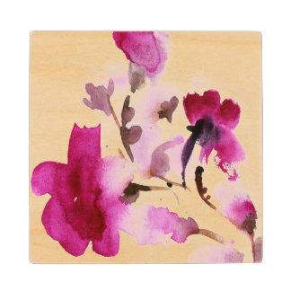 Abstract floral watercolor paintings 4 wood coaster