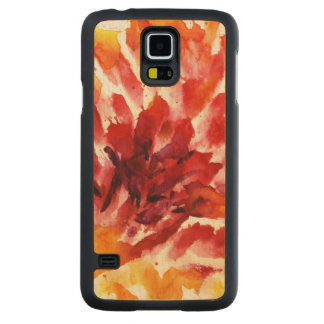 Abstract floral watercolor paintings 5 carved maple galaxy s5 case
