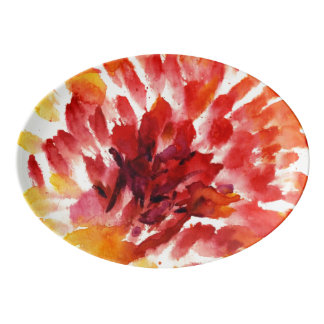 Abstract floral watercolor paintings 5 porcelain serving platter