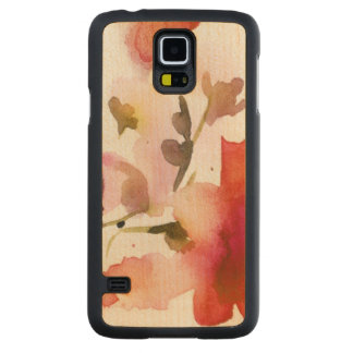 Abstract floral watercolor paintings carved maple galaxy s5 case