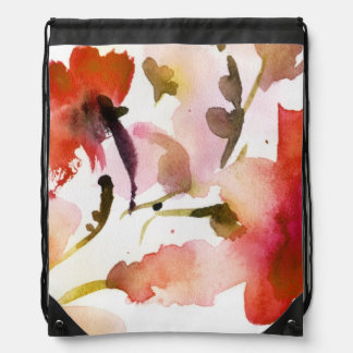 Abstract floral watercolor paintings drawstring bag