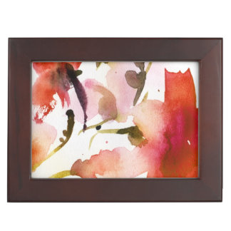 Abstract floral watercolor paintings memory box