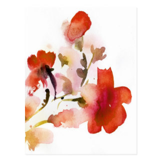 Abstract floral watercolor paintings postcard