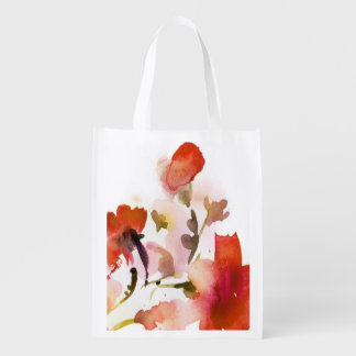 Abstract floral watercolor paintings reusable grocery bag
