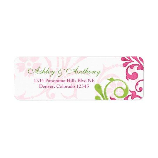 Abstract Floral Wedding Return Address Labels