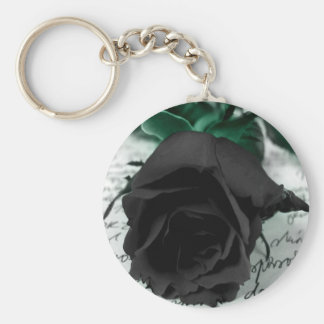 Abstract Flower Black Rose Letter Basic Round Button Key Ring