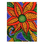 Abstract Flower Colourful Art Postcard