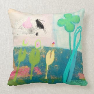 Abstract flower garden with butterflies and birds pillows