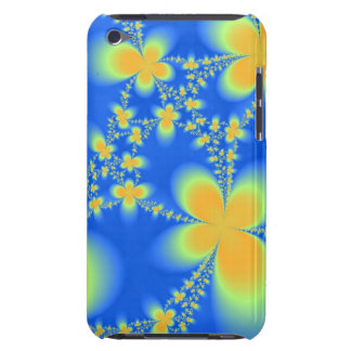 Abstract Flower in Yellow on Blue iPod Touch Case