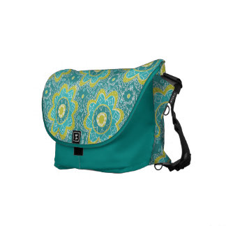 Abstract Flower Print in Teal Messenger Bags