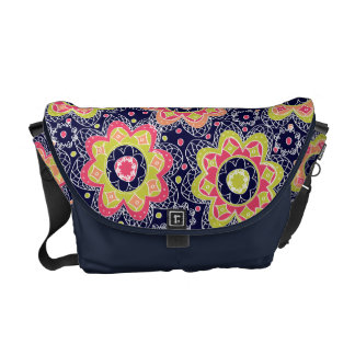 Abstract Flower Print on Dark Blue Courier Bag