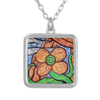 Abstract Flower Silver Plated Necklace