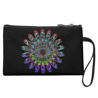 Abstract flower. suede wristlet