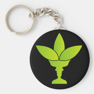 Abstract flower vase with illusion of two faces key chain