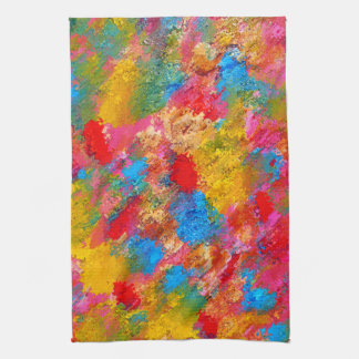 Abstract Flowering Meadow Painting Tea Towel