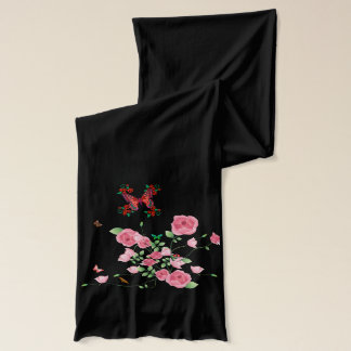 Abstract Flowers and Butterflies Scarf
