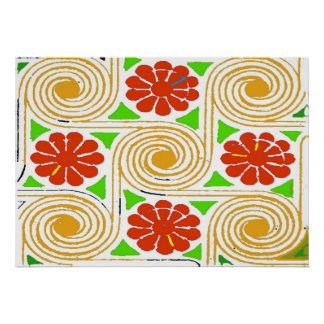 Abstract Flowers and Circles Poster
