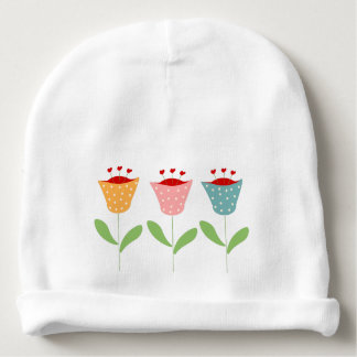 abstract flowers baby beanie