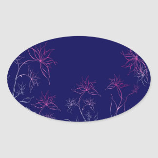 Abstract Flowers Blue Abstract Oval Sticker