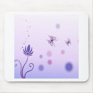Abstract Flowers Blue Butterfly Mousepads