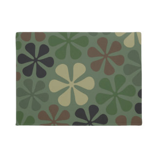Abstract Flowers Camouflage Doormat