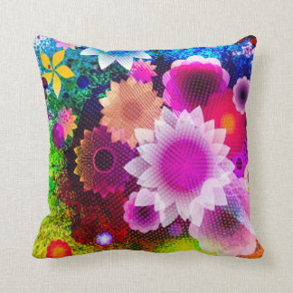 Abstract Flowers Collage Throw Pillow Cushion