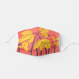 Abstract Flowers Coral Yellow Floral Geometric Art Cloth Face Mask