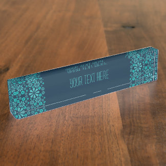 Abstract Flowers desk name plate