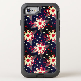 Abstract Flowers & Hearts Pattern OtterBox Defender iPhone 8/7 Case