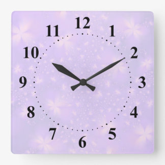 Abstract Flowers in Lilac and Pink Wallclocks
