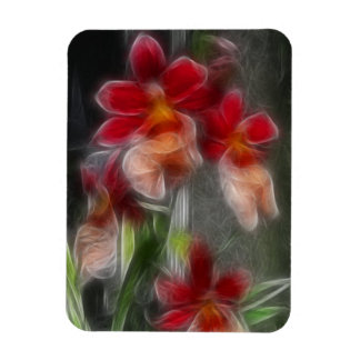 Abstract Flowers in Red Rectangular Photo Magnet