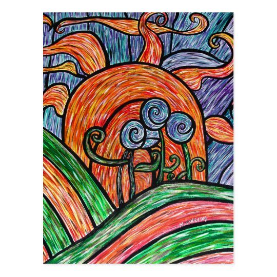 Abstract Flowers In Sunset Colourful Art Postcard